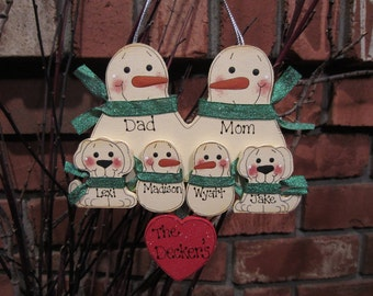 6 Family Members:  Personalized Snowman & Pet Ornament
