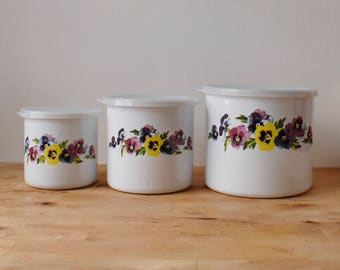 Vintage Floral Canister Set Enamel Tin Metal Tins Kitchen Pansies Pansy Nesting Flour Coffee Tea Sugar Vintage Kitchen Storage Containers