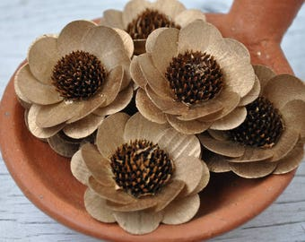 Wooden Flowers - 24 Pcs Copper Brown-Eyed Susan-  Floral Supplies - Wedding Flowers