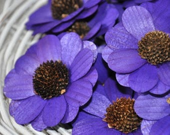 12 Pcs Violet Zinnia Wooden Flowers for Weddings and Other Floral Decorations
