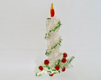 Vintage Christmas Candle Brooch White Enamel Christmas Candle Brooch Vintage Christmas Candle Pin, Christmas Jewelry Holiday Jewelry
