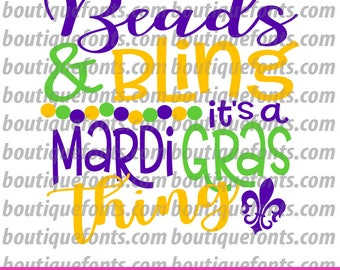 Beads and Bling Mardi Gras Svg Cut File - Instant Download