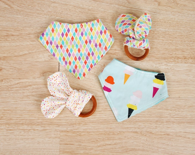 Featured listing image: 1 Organic Wooden Teether and 1 Bandana Bib
