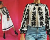 RESERVED- Romanian Skirt and Embroidered Folk Blouse Set (layaway 1)