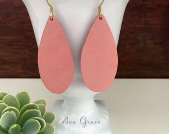 SALE** Leather teardrop earrings // blush rose pink leather teardrop earrings