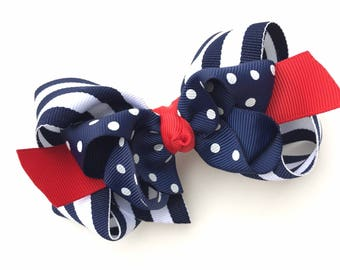 Navy, white & red double boutique hair bow - navy boutique bow, 4 inch bows, boutique bows, girls hair bows, girls bows, toddler bows