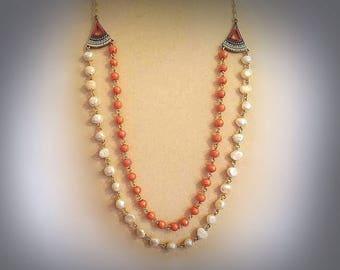 white freshwater pearl necklace orange bead necklace multistrand necklace long layered necklace double strand pearl necklace pearly necklace