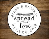 """Favor labels, 2"""" round, set of 20, Spread the Love, personalized stickers, Matte white or Kraft brown, Bridal shower, wedding favor sticker"""