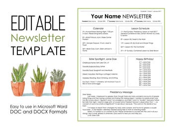 Newsletter Template for Microsoft Word - EDITABLE - Instant Download - Printable