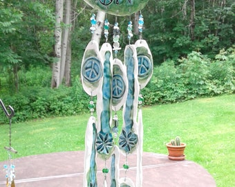 Green Turquoise Marijuana Leaf Pottery Wind Chime Ceramic Cannabis Clay Mobile Weed Garden Ornament