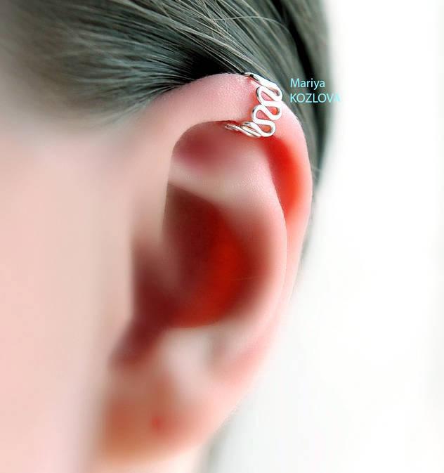 No Piercing Helix Ear Cuff Art Deco Waves Top Upper Ear Cuff