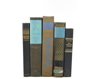 Aged Brown Black Decorative Books, Old Book Set, Wedding Centerpiece, Instant LIbrary, Blue Book COllection, Antique Book Decor, BOoks