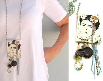Pendant Necklace, Frida Kahlo Necklace, Statement Necklace, Fabric Necklace, Long Beaded Necklace, Gypsy Jewelry, Frida Kahlo Jewelry, OOAK