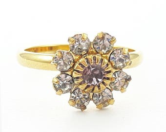 Light Amethyst and White Topaz Flower Ring