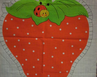STRAWBERRY SHORTCAKE LADYBUG Uncut Pillow Panel Sewing Red Green Fruit Girls Kids Room Bedding