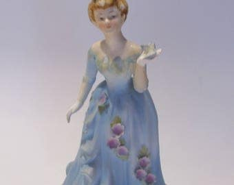 Lefton Tall Woman in Blue Hand Painted Vintage Figurine with Butterflies