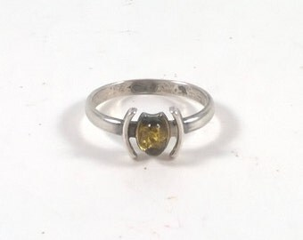 Vintage Sterling Silver Yellow Stone Ring - Everyday Ring - Size     925