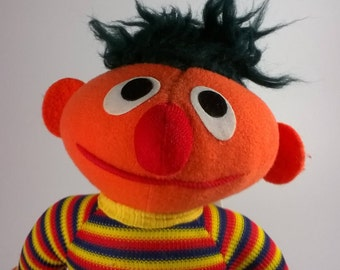 Vintage Ernie Doll - Sesame Street Stuffed Doll - 1970s
