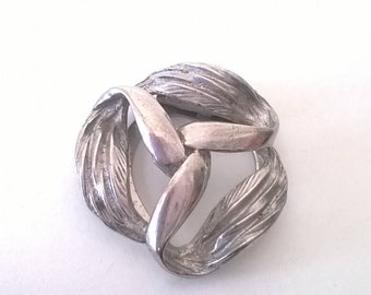 Vintage Clip On Silver Knot Scarf Brooch -Pinless Pin - Costume Jewelry Brooch 1960s