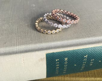 The Elizabeth (Tri-Colored Infinity Stackable Rings)