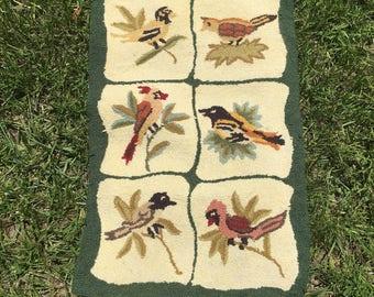 Vintage Hand Hooked Rug Wool, Birds, Botanical, Textile Art Accent Rug Door Mat