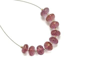Large Pink Quartz Micro Faceted Rondelles, 8mm Gemstones, Bright Pink Quartz Faceted Rondelles, Large Light Pink Quartz Beads