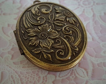 """Ready to Fill (Empty) Solid Perfume Locket, Antique Brass Finish, 44mm x 33mm, with Refillable Pan -- """"Floral""""  #1583"""