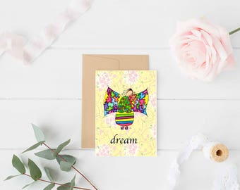 "Greeting Card ""Dream"" / Graduation New Job Thinking of You / Birthday Baby Shower / Girl Angel Wings Christmas Card / Print at Home Artwork"