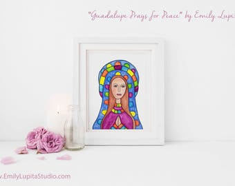Original Painting / Watercolor Portrait Woman Brunette Hair / Praying Peace Religious Holy Mother Mary / Original Mexican American Folk Art