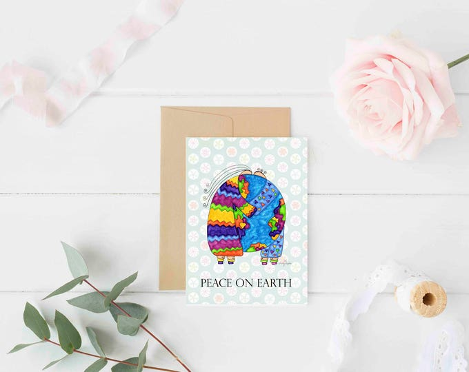 "Greeting Card ""Peace on Earth"" / Christmas Holiday / Wedding Bridal Anniversary / Baby Shower Couple Hugs the World  / Print at Home Artwork"