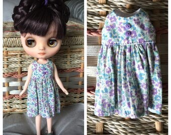 Middie Blythe Vintage Style Dress - Purple and Teal Flowers