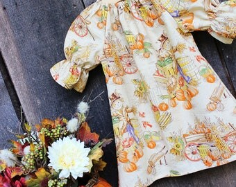 Girls Dress, Fall scarecrow peasant dress, pumpkin patch outfit, Thanksgiving, coming home outfit, toddler, sizes Newborn to 11/12