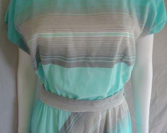 Blue Grey Striped 80s Vintage Summer Boatneck Dress Ladies Womens Size 16 Summer Dress Sale