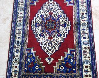 4 by 6 rug / Vintage Oushak Rug / Vintage Rug / Oushak Area Rug / Turkish Vintage Rug / Oushak Rug / Area Rug / Boho Rug / Low Pile Rug