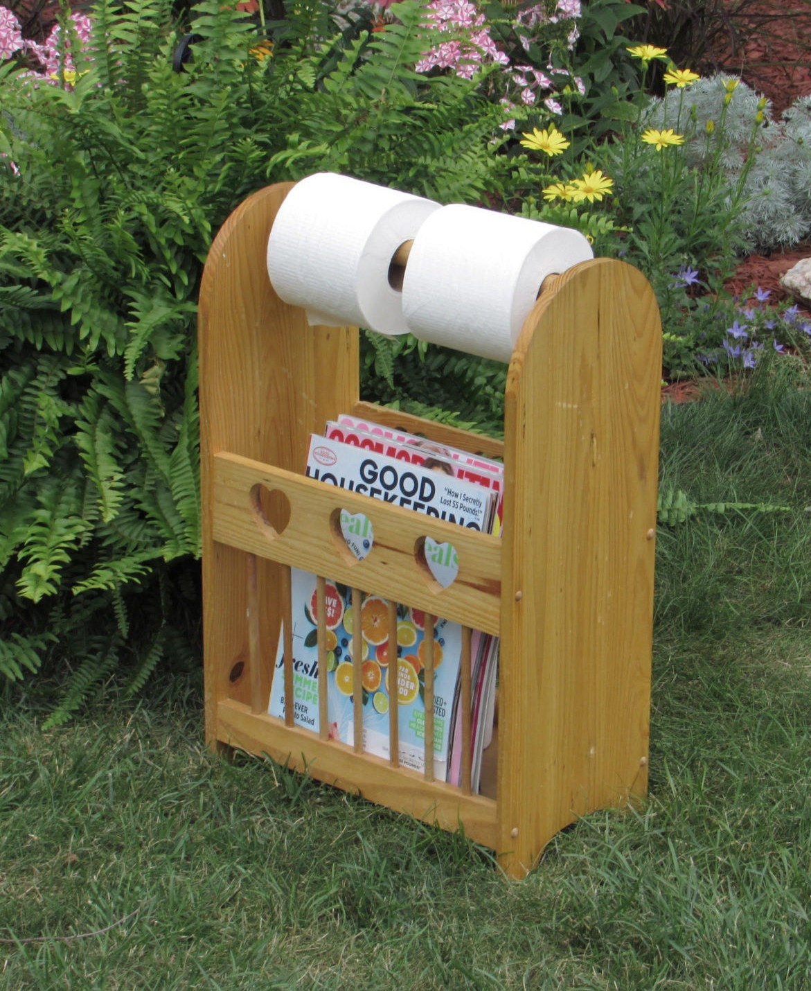 wood magazine rack and toilet paper holder bathroom