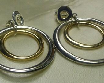 Silver/Gold Big Hoop Earrings composite metal- 24 grms-43mm wide, hang 60mm- nice! 2118