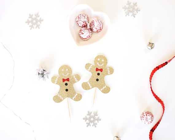 Gingerbread Men Cupcake Toppers - Glitter - Holiday Party Decor. Christmas Party Decor. Appetizer Picks. Christmas Cupcake Topper.