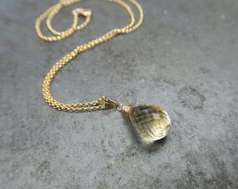 Stunning Citrine Briolette Necklace | Citrine Briolette Necklace | Citrine Necklace | November Birthstone Necklace