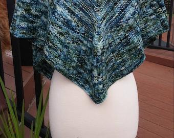 Knit Triangle Shawl- Greens