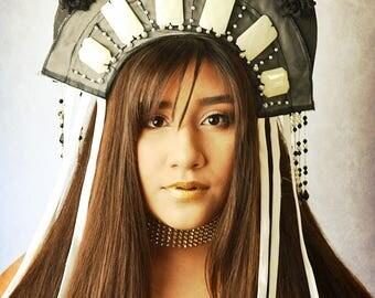 Beaded black white royal high Crown tiara Headdress,headpiece,hat halo festival