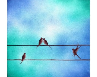 Family of Birds on a Wire Painting, Blue Art Birds Painting, Silhouette Bird Family, ORIGINAL Oil Painting, Modern Bird Whimsical Art 8x8