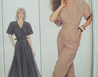 Wrap Dress and Jumpsuit 1980s Simplicity Pattern 8492 Uncut Sizes 10-12-14