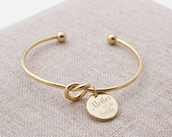 bridesmaid gift, Tie the Knot Bracelet, personalized bracelet, sorority gift, maid of honor bracelet,name bracelet, mother of the bride gift