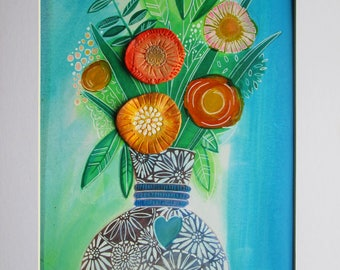 Original mixed media  'Flowers in a Vase'
