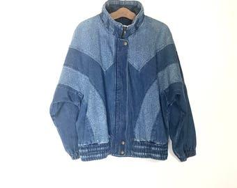 80's Batwing Sleeve Denim Jacket Minimalist Jacket 90's Denim Jacket Oversized Slouchy Vintage Jean Jacket Slouchy Baggy Large L i