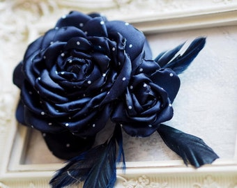 Feather Hair Accessory, Retro Hair Accessory, Millinery Flower,Blue Wedding Fascinator,Navy Hair Clip,Gatsby  Hadpiece,20s Hair Accessories
