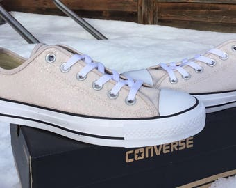 Ivory Converse Low Top Iridescent Glitter Cream Blush Nude Glass Slippers w/ Swarovski Crystal Chuck Taylor Rhinestone Bling All Star Shoes