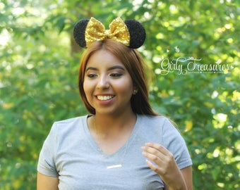 GOLD Mouse Ears Headband. Gold Mouse Ears Headband. Girl Mouse Ears Headband. Women Disney Headband. One Size Fits Most.