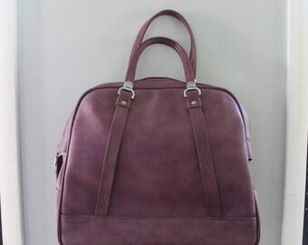 Vintage mottled Purple American Tourister Carry On Bag travel in Style, Purple Luggage, Vintage purple weekend bag