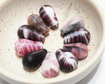 Pink and Purple Bohemian Glass Beads,  Africa Trade Beads, Ethnic Jewelry Supplies, Wedding Beads (AP195)